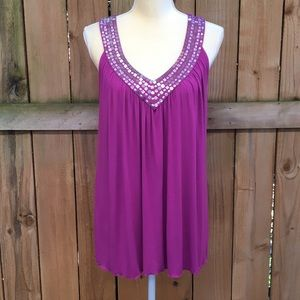 🆕 Cable & Gauge Sequin Neckline Tank Top NWT
